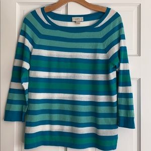 LOFT Blue Turquoise Striped 3/4 Sleeve Sweater S
